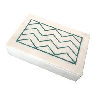 Chevron Design Marble Box For Sale