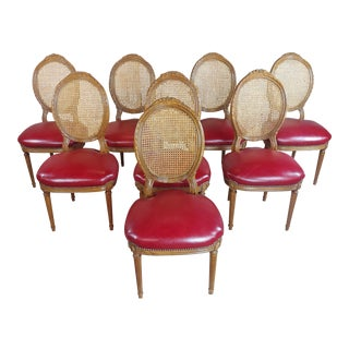 Louis XVI Cane Back and Red Leather Seat Dining Chairs - Set of 8 For Sale