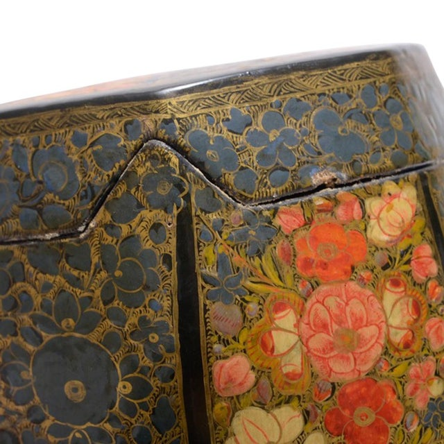 Black Floral Motif Hand Painted Tea Canister For Sale - Image 8 of 8