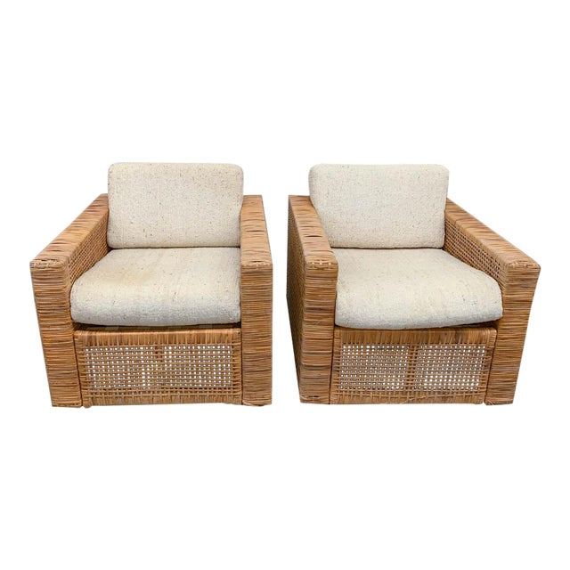 Pair, Mid Century Cube Chairs For Sale