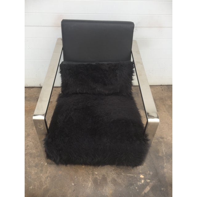 Faux Fur Leather & Chrome Lounge Chair For Sale - Image 4 of 8