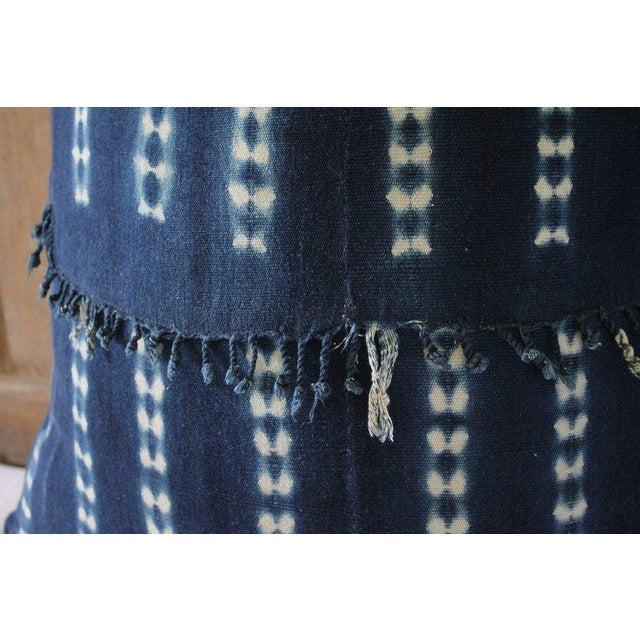 Antique Indigo Blue Batik Fringe Accent Pillow For Sale In Los Angeles - Image 6 of 8