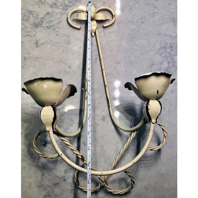 White Mid-Century Wrought Iron Wall Sconce Candle Holders - Set of 2 For Sale - Image 8 of 10