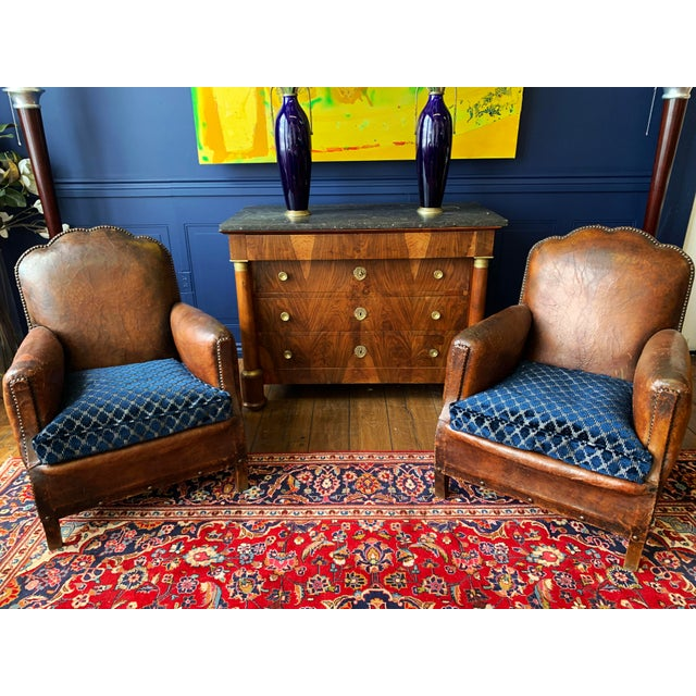 Blue 1930's Vintage Art Deco Leather Club Chairs - A Pair For Sale - Image 8 of 10