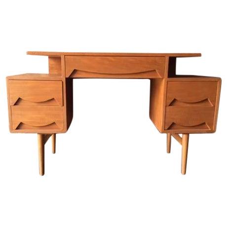 Mid Century Refinished Teak Sculpted Drawer Desk - Image 1 of 6