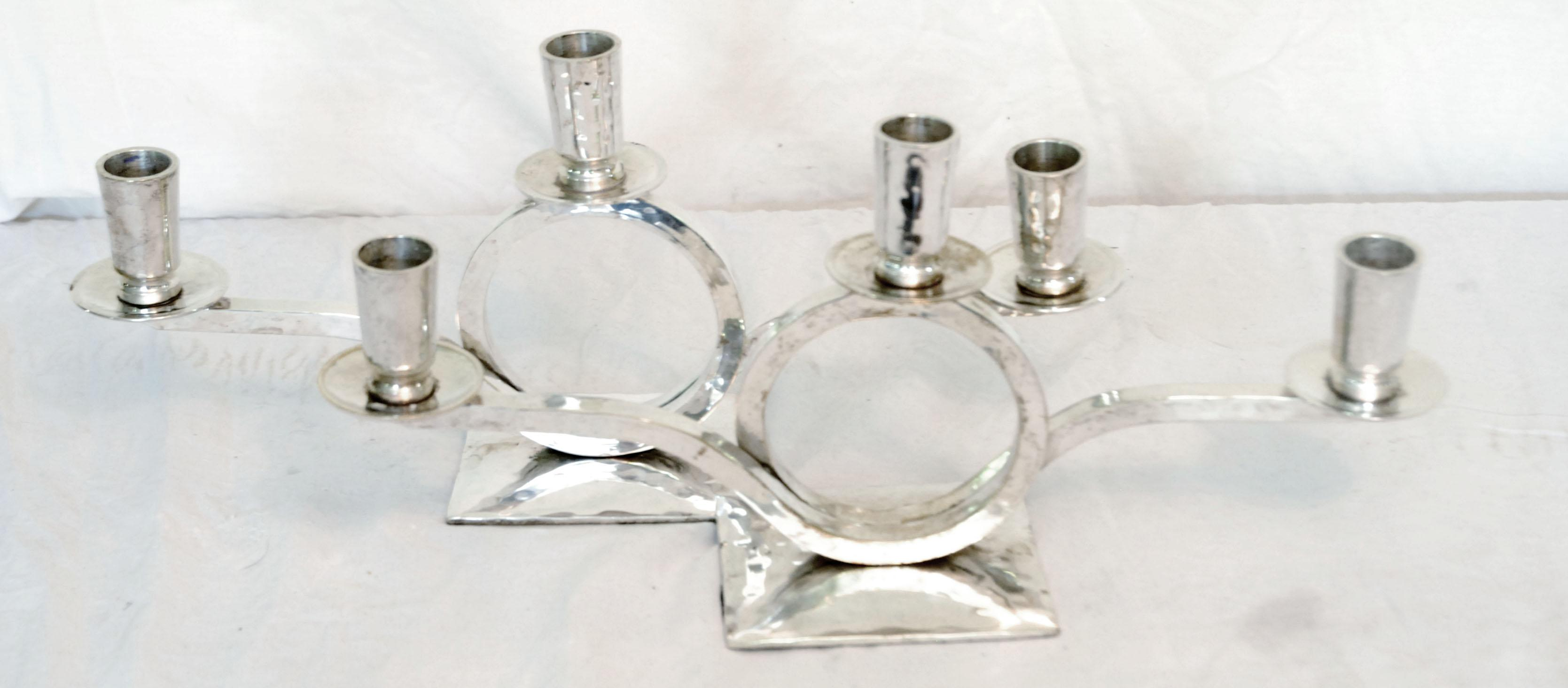 Restoration Hardware Silver Plate Candle Holders - A Pair - Image 2 of 4  sc 1 st  Chairish & Restoration Hardware Silver Plate Candle Holders - A Pair | Chairish