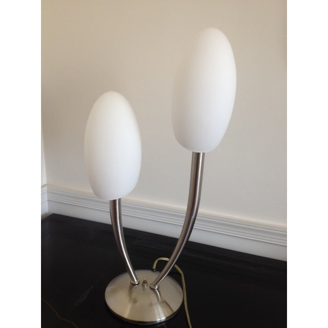 Modern Brushed Nickel Egg Shade Table Lamp - Image 2 of 3