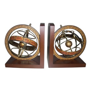 Zodiac Figures Armillary Sphere Brass Bookends - a Pair For Sale
