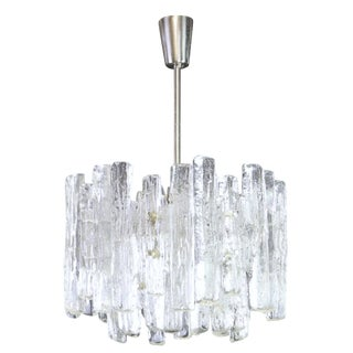 1960s Large Murano Ice Glass Chandelier by Kalmar, Austria, 1960s For Sale