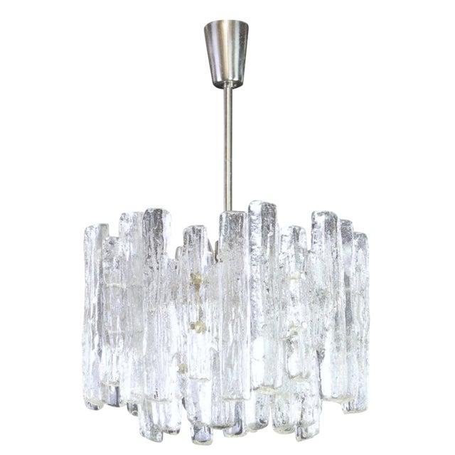 1960s Large Murano Ice Glass Chandelier by Kalmar, Austria, 1960s For Sale