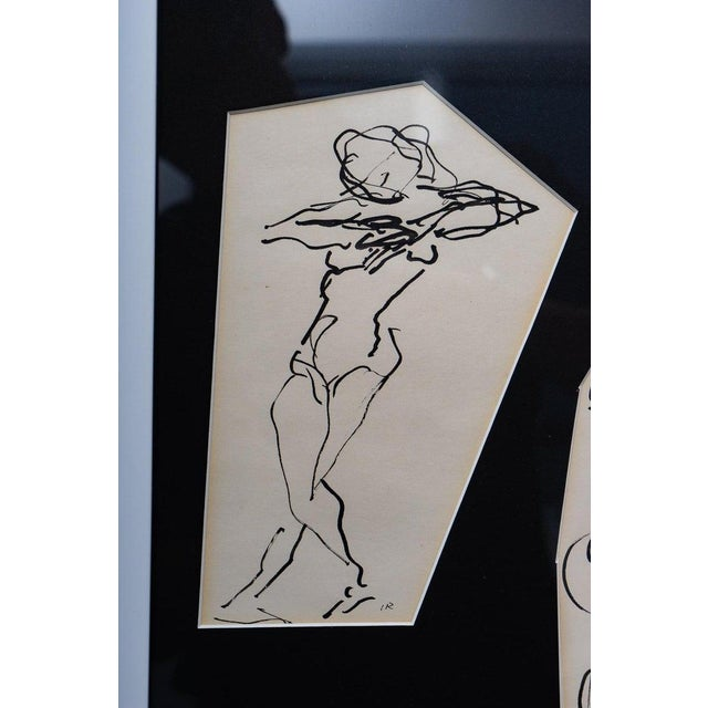 Ink Sketches of Dancers in Position - Set of 3 Framed Groups For Sale - Image 4 of 13