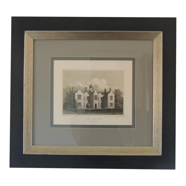 English Manors Engraving Reproduction in Black & White Framed #1 For Sale