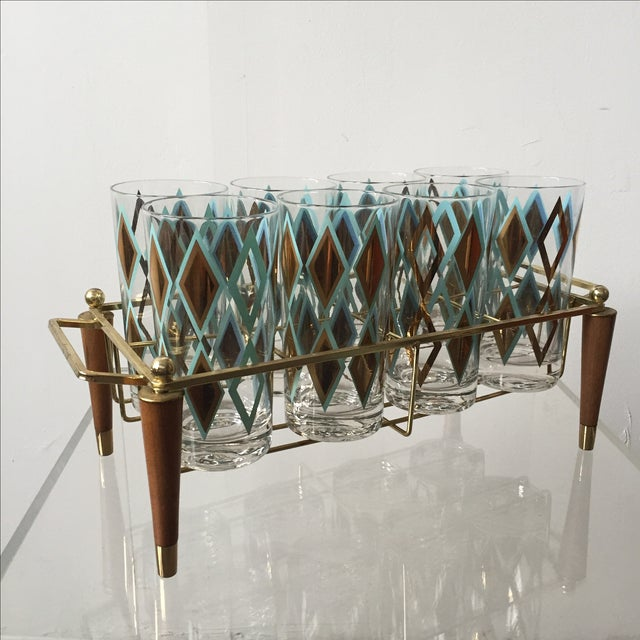 Mid-Century Brass and Teak Caddy With 8 Glasses - Image 2 of 5