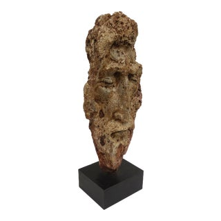 Mid-Century Modern Carved Basalt Sculpture of God Signed Bari For Sale