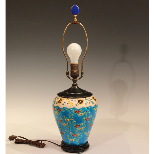 Japonisme Old Antique Japanese French Pottery Longwy Turquoise Studio Lamp For Sale - Image 3 of 10