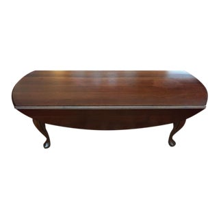 1980s Queen Anne Dark Cherry Drop Side Coffee Table For Sale