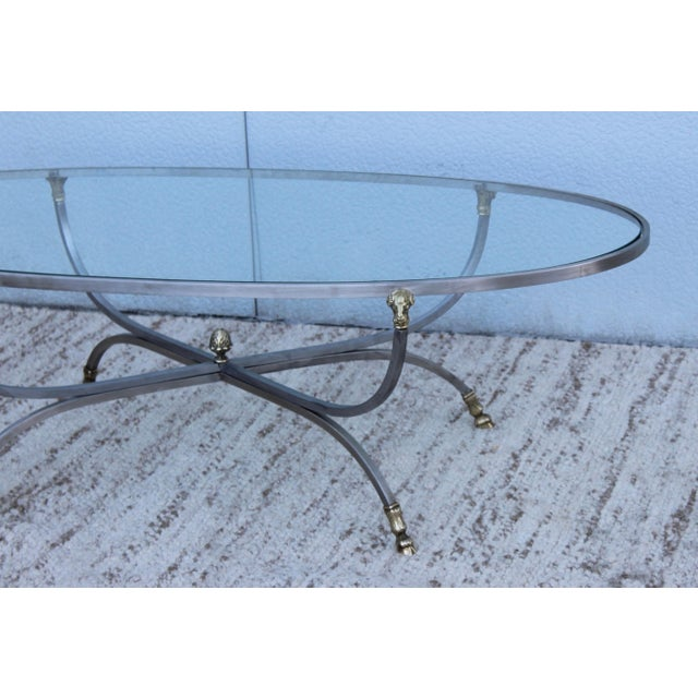 Steel and Brass Rams Head Oval Italian Coffee Table For Sale - Image 11 of 13