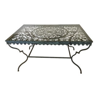 1940s French Provincial Iron Table With Glass Top