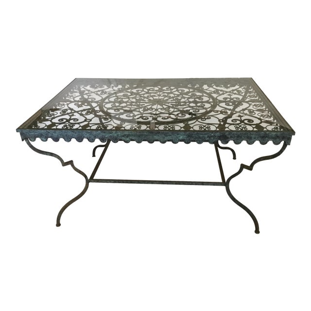 1940s French Provincial Iron Table With Glass Top For Sale
