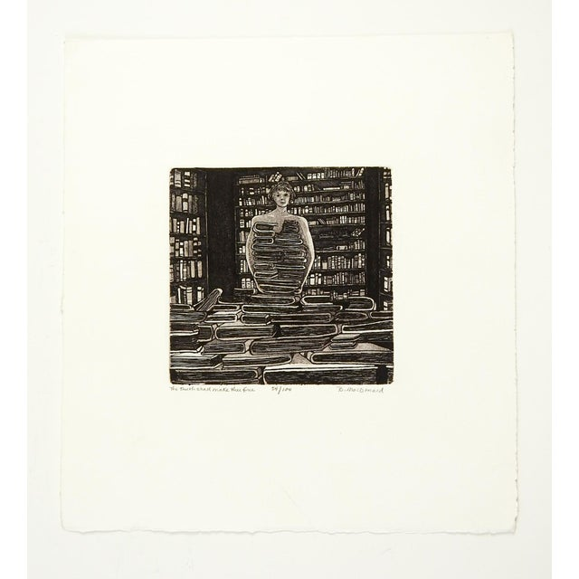 Betty McDonald Library & Books Etching For Sale - Image 4 of 4