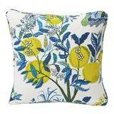 Image of Schumacher Double-Sided Pillow in Citrus Garden Pool Blue Linen Print For Sale