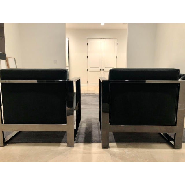 2010s Mid Century Modern Cube Chrome Lounge Chairs - a Pair For Sale - Image 5 of 8