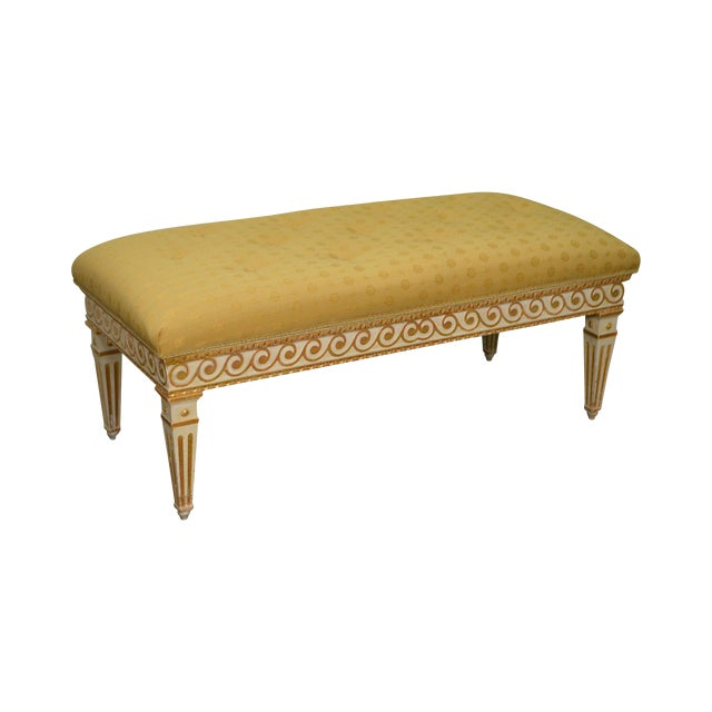 Vintage Regency Style Gilt Painted Wood Tufted Window Bench For Sale
