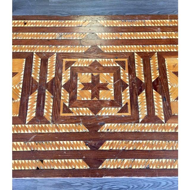 Vintage Folk Art Wood Inlay Bench - Image 3 of 8