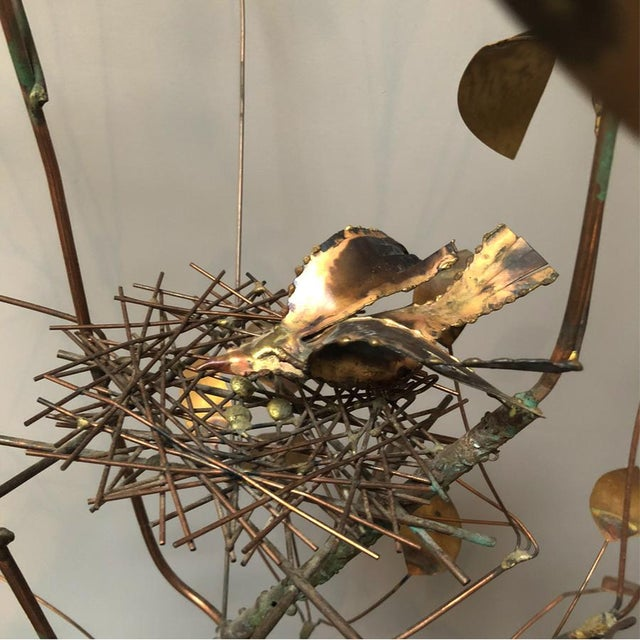 Gold Curtis Jere Brass Tree Birds Nest Floor Sculpture For Sale - Image 8 of 12