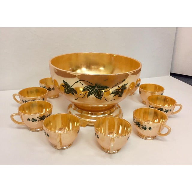 Green 1960s Anchor Glass Peach Luster Nostalgia Punch Serving - Set of 12 For Sale - Image 8 of 11