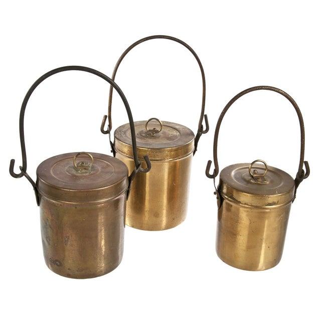 Vintage Copper Pails With Lids - Set of 3 - Image 1 of 3