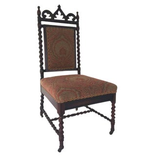 Walnut Gothic Revival Side Chair With Casters For Sale