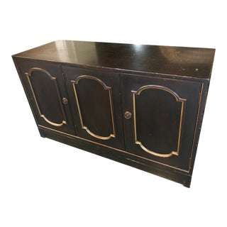 Antique Long Dark Brown Wood Buffet For Sale