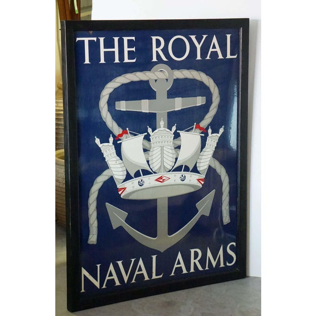"English Vinage English Pub Sign, ""The Royal Naval Arms"" For Sale - Image 3 of 13"