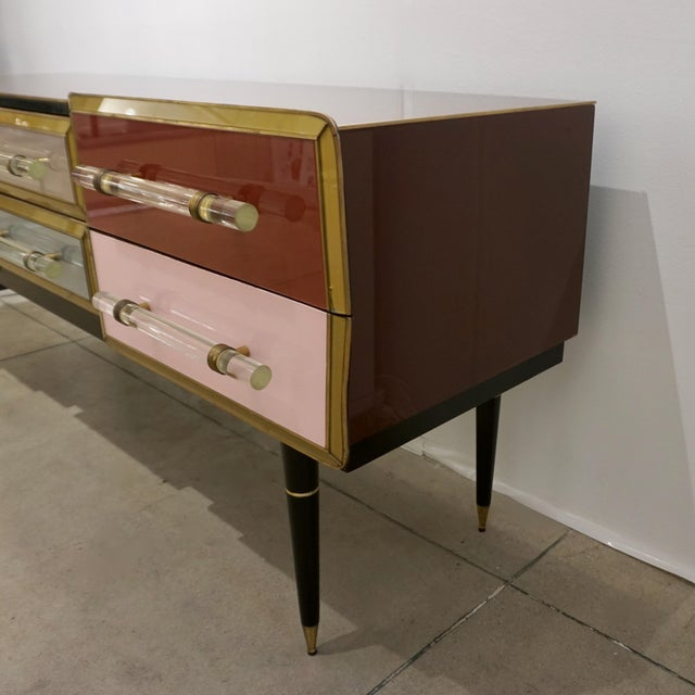 1960 Italian Vintage Rose Pink Gray Wine Gold 6 Drawers Sideboard / Console For Sale - Image 10 of 13
