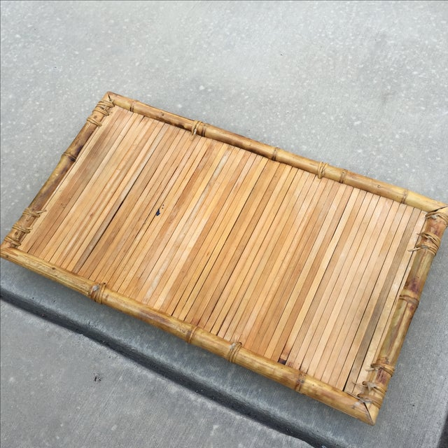 Vintage Polynesian Bamboo Serving Tray | Chairish