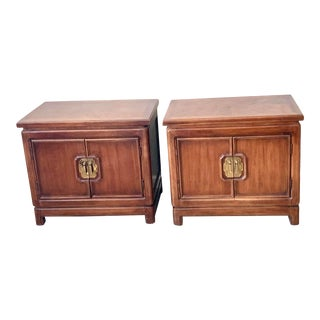 Thomasville Mystique Chinoiserie Side Tables With Bronze Handles - a Pair For Sale