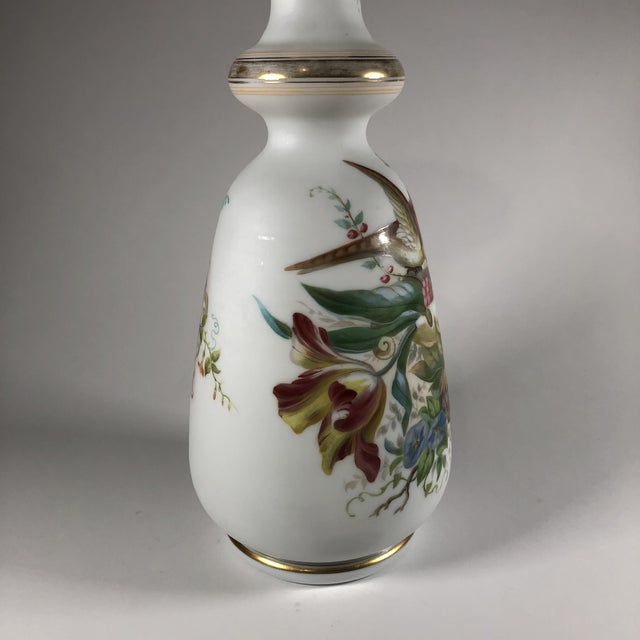 19th Century French Hand-Painted Opaline Glass Vase For Sale In Cleveland - Image 6 of 9
