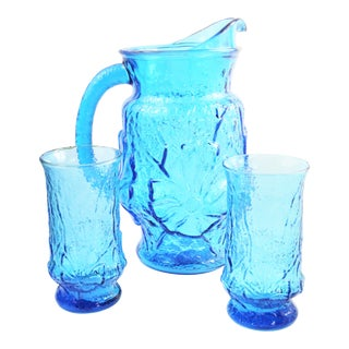 Vintage Retro Mold Turquoise Glass Flower Pitcher & Tumblers - Set of 3 For Sale