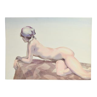 1970's Finely Rendered Watercolor Painting of Nude on Rock Kurt Sala Chicago For Sale