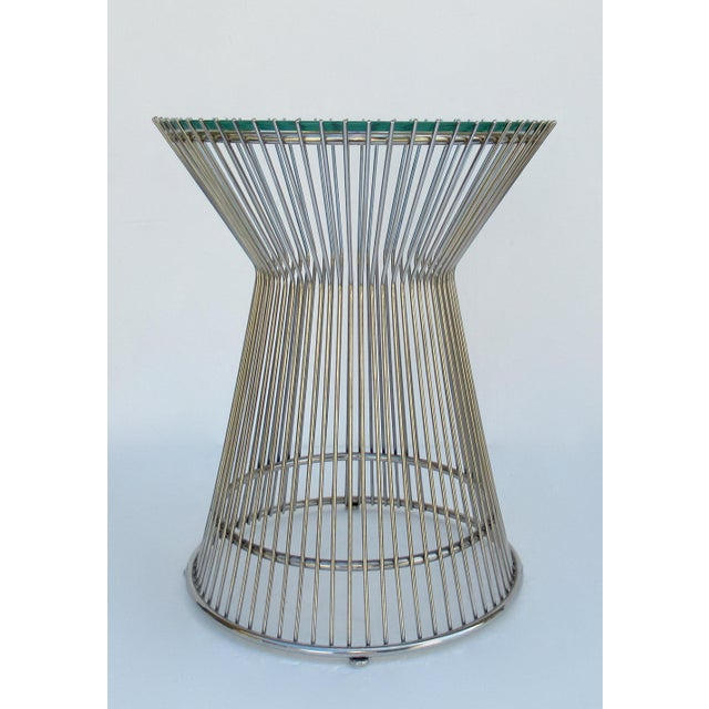 c.1980s-90s; Warren Platner-Style Steel and glass round accent or side table. There is an overlay polished chrome finish...