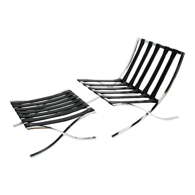 Italian Barcelona Style Chair and Ottoman Frames - 2 Pieces For Sale