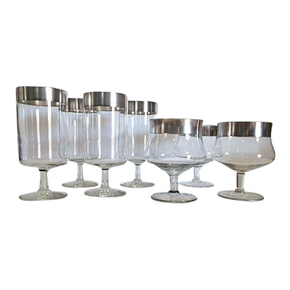 Dorothy Thorpe Iced Tea Glasses & Cocktail Goblets - Set of 7 For Sale