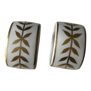 Limoges Laura Selignac Hand Painted 24k Signed Napkin Rings - a Pair For Sale