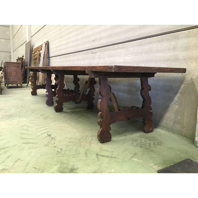 Early 19th Century French Baroque Style Walnut Trestle Dining Farm Table 163´ For Sale - Image 12 of 13