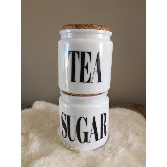 1950s Vintage Milk Glass Sugar & Tea Canister Jars - A Pair For Sale - Image 5 of 8