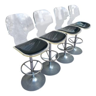 1960s Vintage Swivel Lucite Bar Stools - Set of 4 For Sale