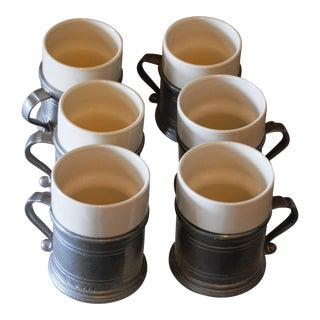 1970s Wilton Pewter Plough Tavern Mugs with Ceramic Liners - Set of 6 For Sale