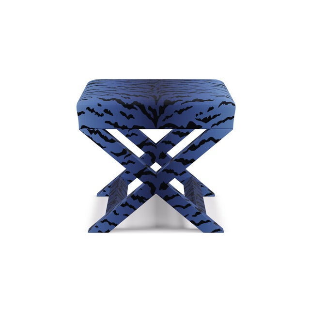 Wood X Bench In Royal Tiger By Old World Weavers For Sale - Image 7 of 7