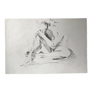 Seated Male Nude Figure Drawing For Sale